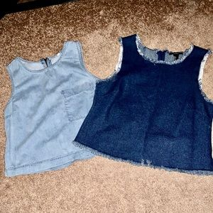 ❤️two trendy denim tops❤️offers welcomed. Must go!